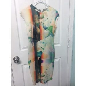 Zara Watercolor bodycon dress